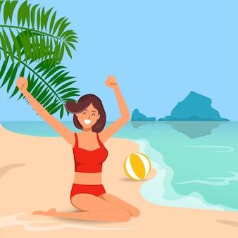 夏のビーチに座っている美しい女性。