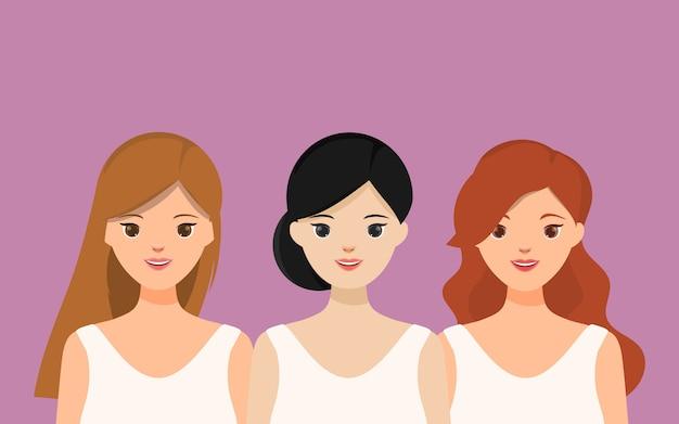美しい女性の肖像画のキャラクターのグループ。