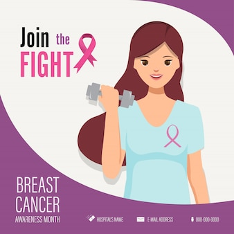 乳がん啓発月間闘争キャンペーンで運動を支援する女性。