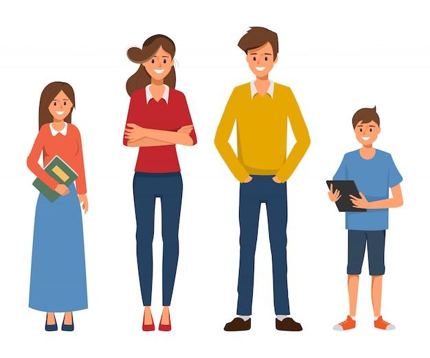 母父と子供たちと幸せな家族の人々のキャラクター。