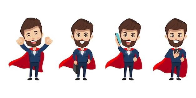 Бизнесмен персонаж в концепции супер герой.