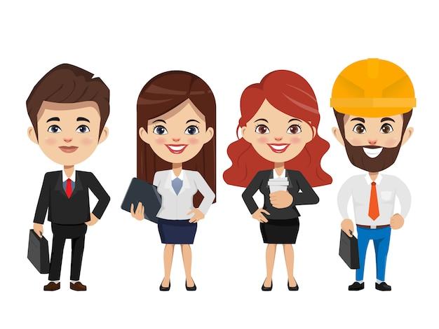 チームワークのキャラクターで働くビジネスマン。