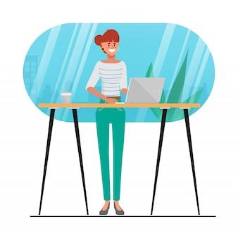 カフェショップでコンピューターのラップトップを使用して若い女性のキャラクターアニメーション。トレンディなブロガーライフスタイルの人々の活動。