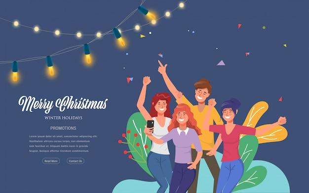 Веселого рождества и счастливого нового года участник веб-целевой страницы.