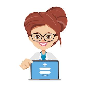 ノートパソコンを提示する医者男