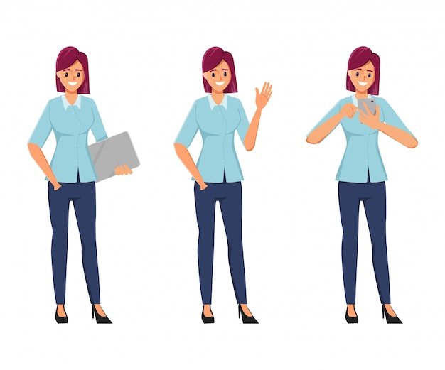 Характер офисной позы женщины установлен в фриланс