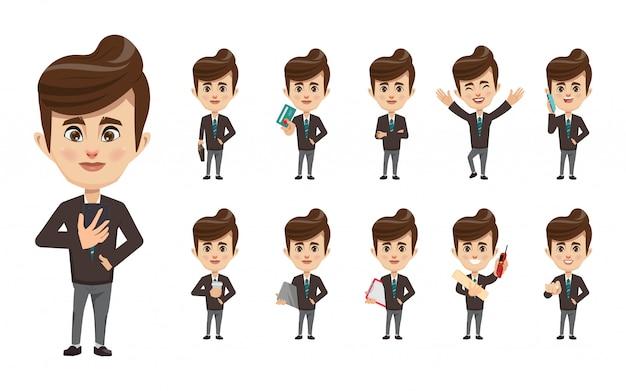 Набор бизнесмена в офисе создания рабочих мест персонажа.