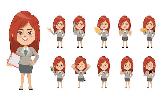Набор бизнес-леди создания персонажа.