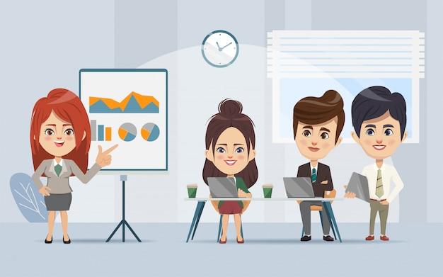 専門家とオフィスのチームワークビジネス会議とビジネスの人々セミナー。