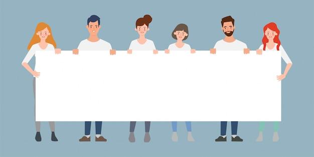 大きなバナー空白文字フラットベクトル図を保持しているビジネス人々のチームワークのグループ。