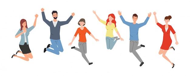 Счастливые скача работники офиса плоская иллюстрация вектора. веселые корпоративные сотрудники мультфильмов набор.