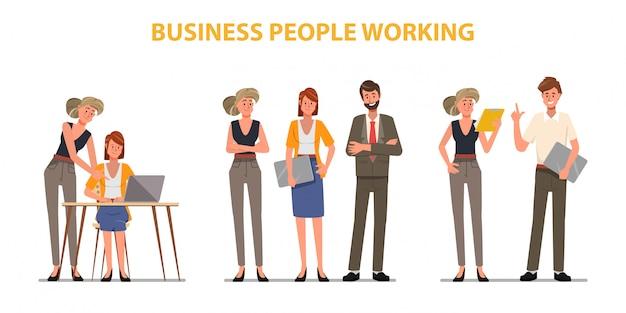 Деловые люди работа в команде офисный характер. коллегиная семинарская встреча.