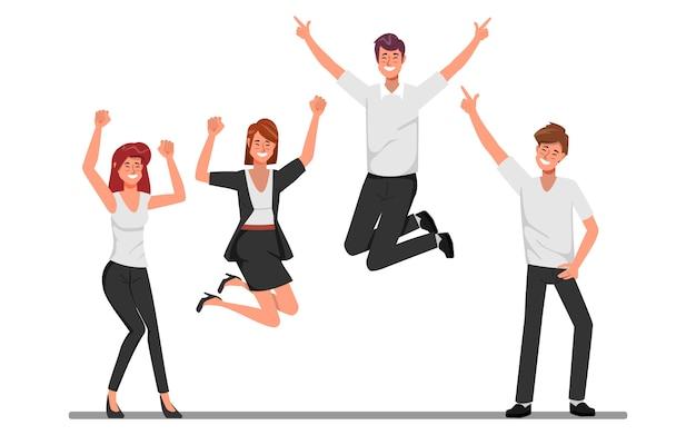 幸せなジャンプオフィスワーカーフラットベクトル図とビジネス人々企業従業員漫画のキャラクター。
