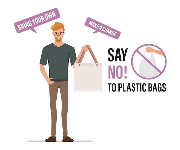 ビニール袋に「いいえ」と言って、布製の袋を携帯します。汚染問題の概念。