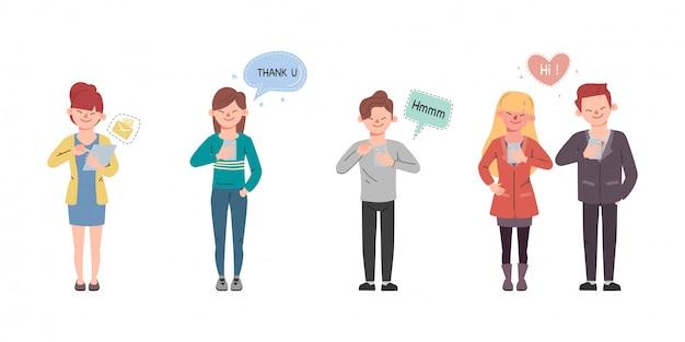 Молодые люди обсуждают разговоры в социальных сетях. мультфильм векторные иллюстрации в плоский