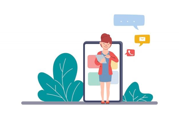 Мобильное общение в чате. отправлять и получать сообщения концепции бизнес инфографики. люди в социальных сетях.