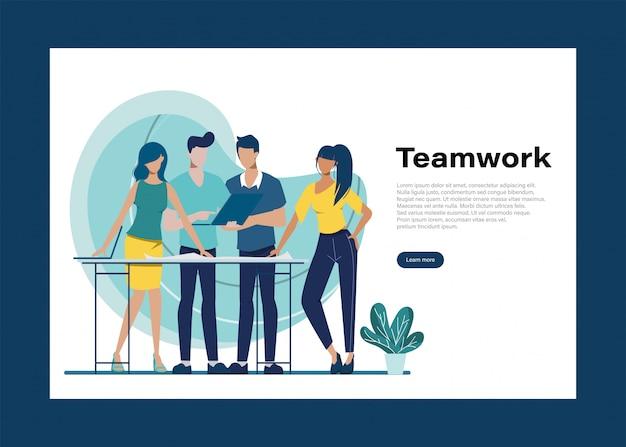 Деловые люди работа в команде офисный характер. анимация для движения. коллегиная семинарская встреча. совместное рабочее пространство офисного интерьера.