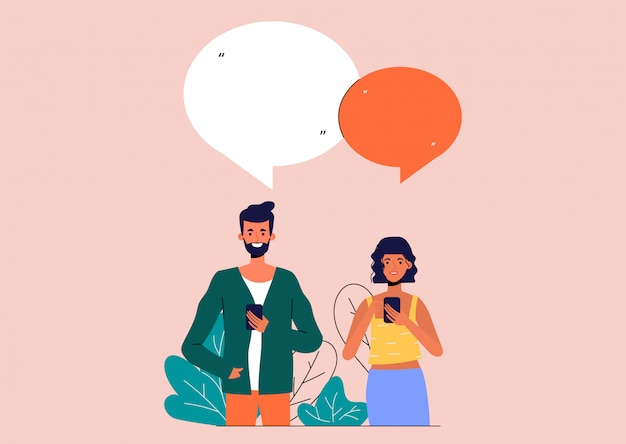Обсуждать деловых людей. мужчина и женщина разговаривают в социальных сетях.