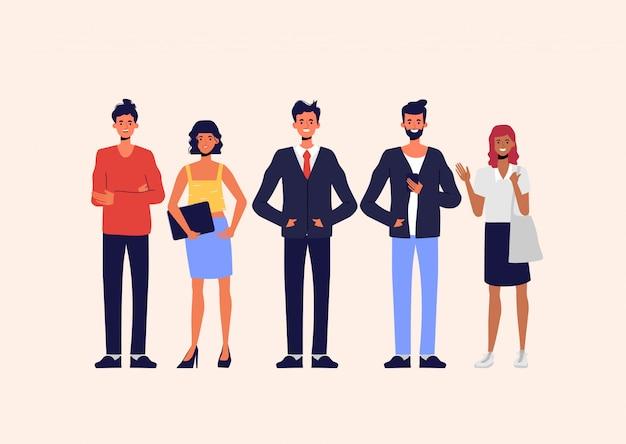オフィス組織のビジネス人々。ビジネスマンやビジネスウーマン、フリーランスの仕事のキャラクター。