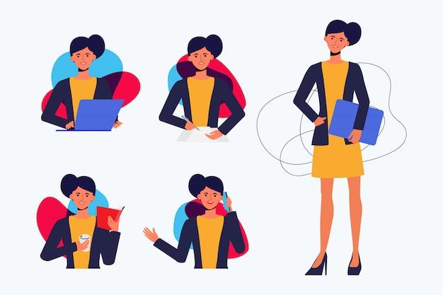 Набор бизнес-леди создания персонажа поза с оккупации работы в едином костюме.