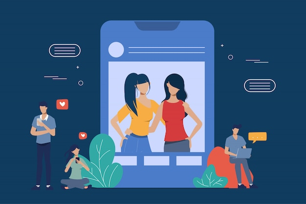 ソーシャルメディアネットワーク通信の背景に携帯電話を使用している人々。オンラインコミュニティの人々。