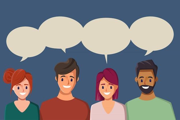 Обсуждать деловых людей. мужчина и женщина разговаривают в социальных сетях. мультфильм иллюстрация