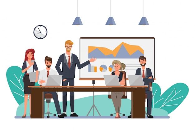 ビジネスプロフェッショナルやオフィスのチームワークに提示する実業家。アニメーション同僚セミナー会議。