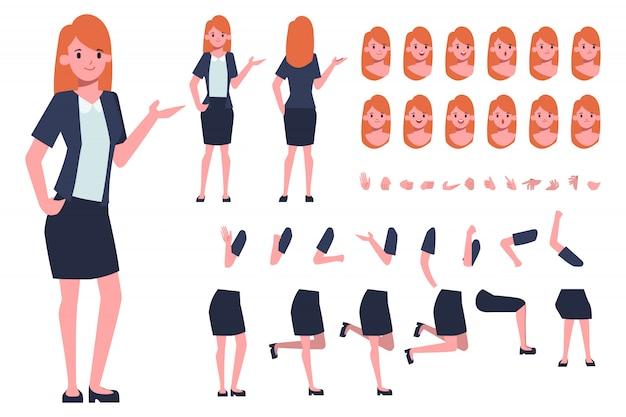 Предприниматель или секретарь создание персонажа для анимации. готов к анимации. офисная работа.