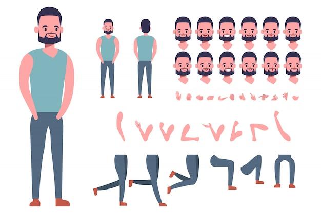 Сильный человек создание персонажа для анимации. готов к анимированным эмоциям лица и рта.