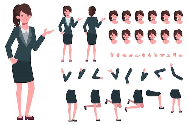 Деловая женщина или секретарь создания персонажа для анимации. готов к анимации. офисная работа.
