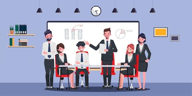 Бизнесмен представляя к профессионалу дела и сыгранности офиса. анимация для движения. коллегиная семинарская встреча.