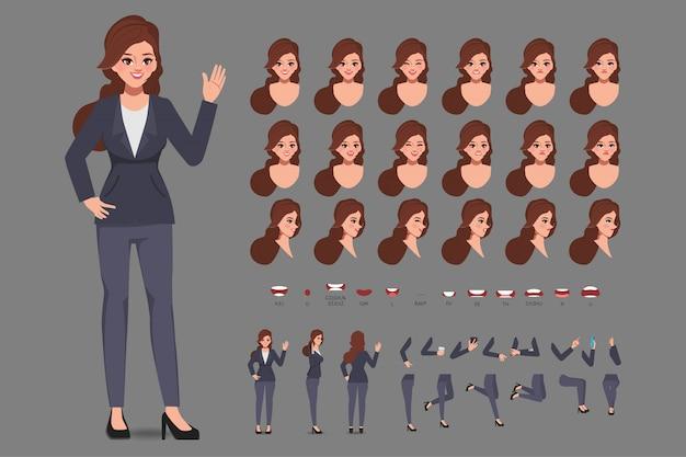 アニメーションのカジュアルな服装のビジネスウーマンと漫画のキャラクター。フロント、サイド、行動キャラクター。体の別々の部分。フラットの図。