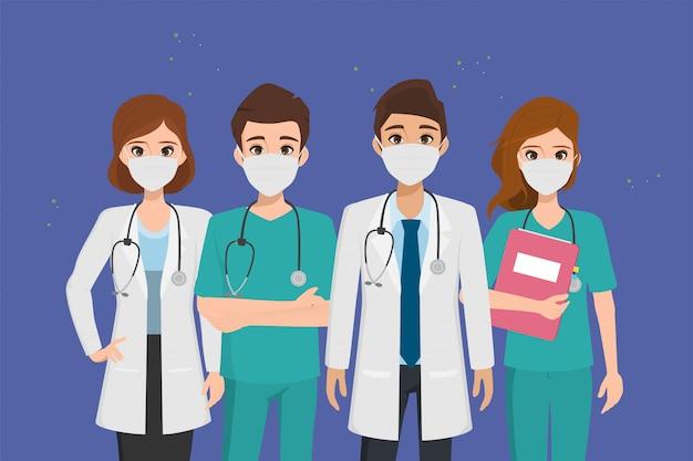 コロナウイルスの発生から患者を救い、コロナウイルスと戦う医師。