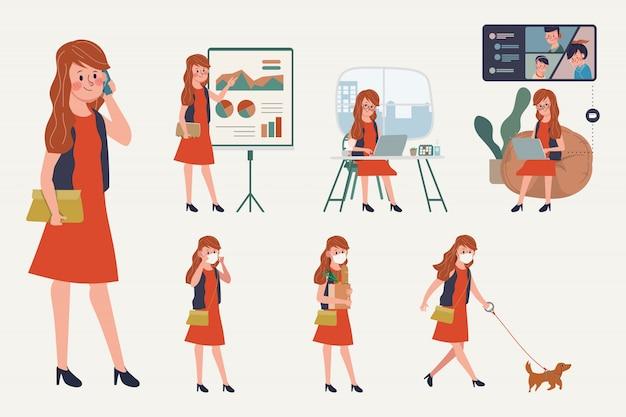 新しい通常のライフスタイルでのビジネスの女性キャラクターのセット。手描き漫画のベクトルのデザイン。