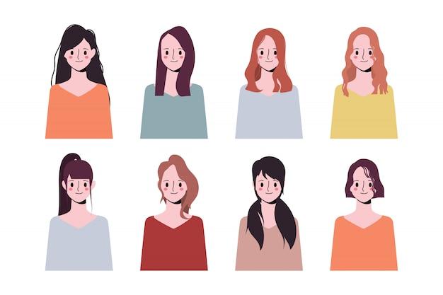 クリップアート女性コレクションアイコンキャラクターの顔の違いの髪のスタイルのセットです。