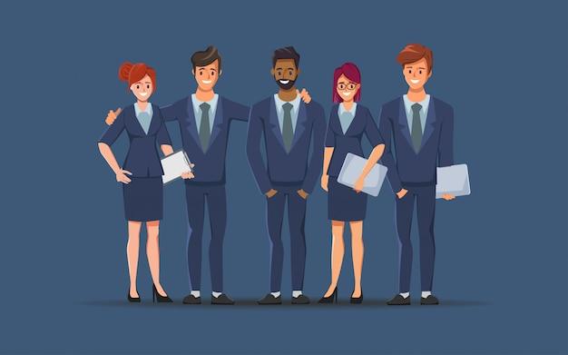 ビジネスマンやビジネスウーマンの漫画のキャラクター。チームワークのコンセプトデザイン。フラットのベクターイラストです。