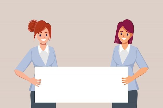 Молодые деловые женщины люди персонажи, представляющие большие плакаты.