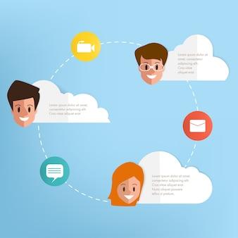 Общение людей с инфографикой.
