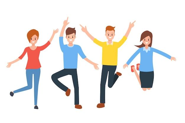 ジャンプする幸せな人々のグループは、人生を楽しむ。
