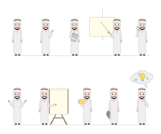 ビジネスアラブ人キャラクターの落書きデザインのセット。
