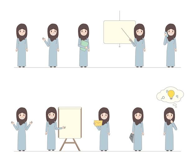 ビジネスアラブの女性キャラクターの落書きデザイン。