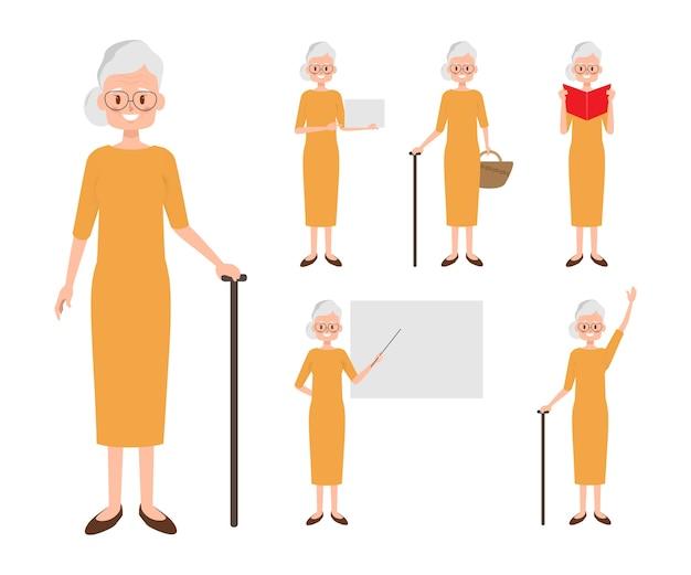 高齢者の女性キャラクター。