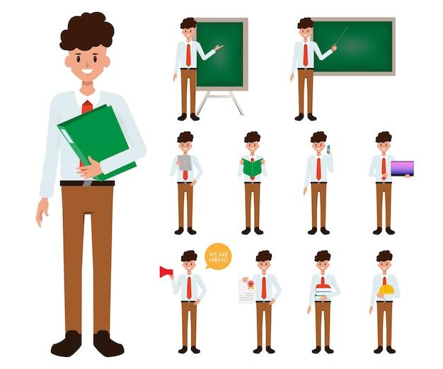 Учитель работает с гаджетом.
