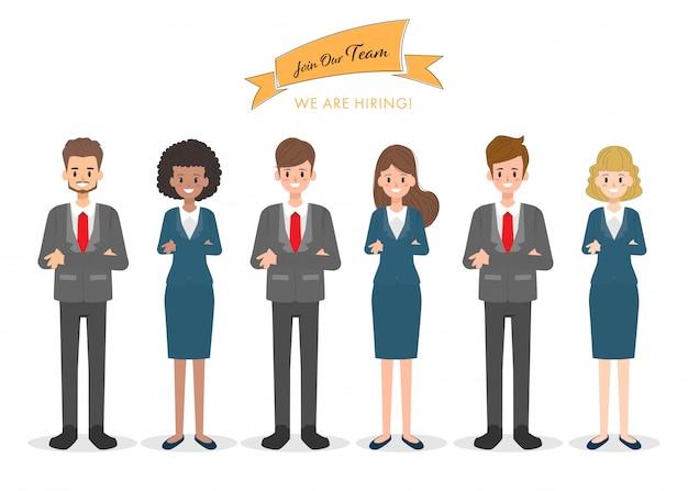 オフィスの仕事の国際的なキャラクターのチームワークの人々。