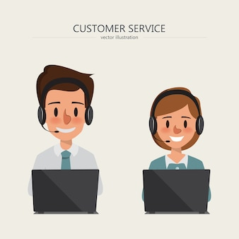 ヘッドホンで顧客サービスを担当するコールセンターのオペレータ。