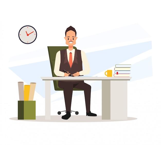 ビジネスの男性が彼の机に座っていると働いています。