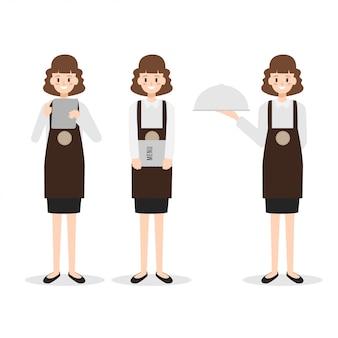 レストランスタッフ女性ウェイトレスキャラクター。