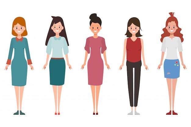 異なる姿勢で働く女性のセットです。