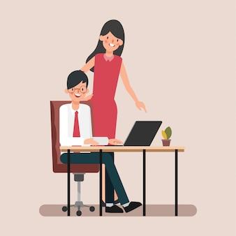 アニメーションシーンのビジネス人の同僚が仕事を割り当てます。