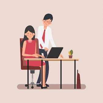 Анимация сцены деловые люди коллеги назначают на работу.